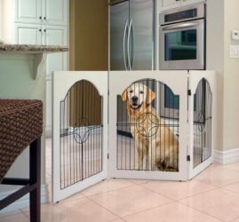 Universal Free Standing Pet Gate (Wire insert & White)