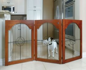 Universal Free Standing Pet Gate (Wire insert & Cherry Stain)