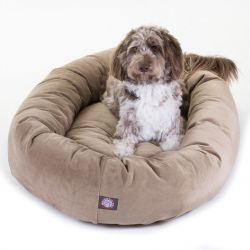 "52"" Stone Suede Bagel Dog Bed By Majestic Pet Products"