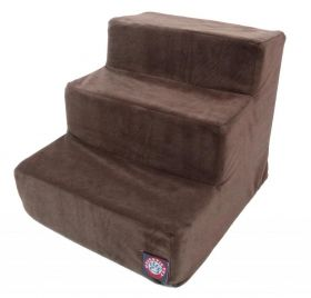 3 Step Chocolate Suede Pet Stairs By Majestic Pet Products