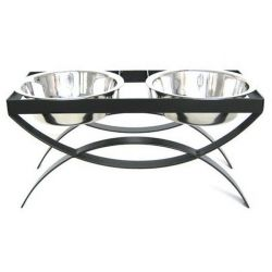 SeeSaw Double Elevated Dog Bowl - Small/Mocha