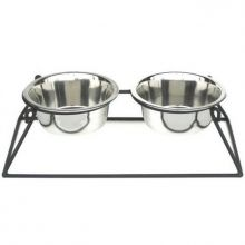Pyramid Elevated Double Dog Feeder - Small/Black