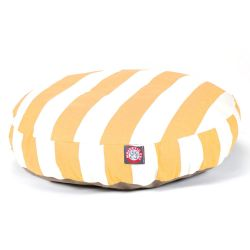 Yellow Vertical Stripe Small Round Pet Bed