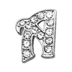 "Script Letter Charms - Chrome Plated/Czech Crystal (slide onto  our 3/8"" or two-tier collars) (Choose Letter: A)"