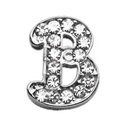 "Script Letter Charms - Chrome Plated/Czech Crystal (slide onto  our 3/8"" or two-tier collars) (Choose Letter: B)"
