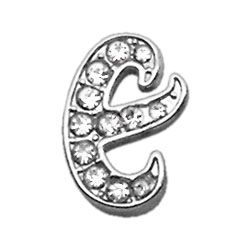 "Script Letter Charms - Chrome Plated/Czech Crystal (slide onto  our 3/8"" or two-tier collars) (Choose Letter: E)"
