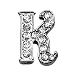 "Script Letter Charms - Chrome Plated/Czech Crystal (slide onto  our 3/8"" or two-tier collars) (Choose Letter: K)"
