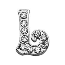 "Script Letter Charms - Chrome Plated/Czech Crystal (slide onto  our 3/8"" or two-tier collars) (Choose Letter: L)"
