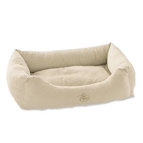 "Pet Dreams 2 in 1 Plush Bumper Dog Bed (Color: Ivory, Size: Small 24"" x 18"")"