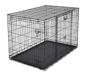 "Ovation Double Door Crate with Up and Away Door (Color: Black, Size: 25.50"" x 17.50"" x 19.50"")"