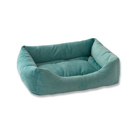 "Pet Dreams 2 in 1 Plush Bumper Dog Bed (Color: Sea Foam Blue, Size: Small 24"" x 18"")"