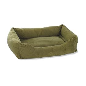 "Pet Dreams 2 in 1 Plush Bumper Dog Bed (Color: Sage Green, Size: Small 24"" x 18"")"