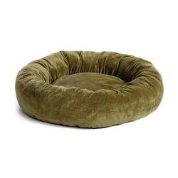 "Quiet Time Deluxe Bagel Dog Bed (Color: Sage, Size: 28.5"" x 28.5"" x 8"")"