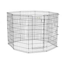 "Life Stages Pet Exercise Pen with Door 8 Panels (Color: Black, Size: 24"" x 24"")"