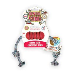 Dental Kong with Rope Dog Toy (Color: Red, Size: Small)