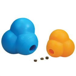 "Dog Atomic Treat Ball (Color: Blue or Orange, Size: 6"" x 6"" x 5"")"