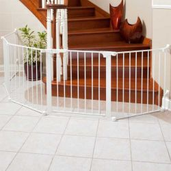 "Auto Close ConfigureGate Pet Gate (Color: White, Size: 84"" x 31"")"