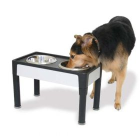 "Signature Series Dog Elevated Panel Feeder (Color: Black / Gray, Size: 23"" x 12.5"" x 8"")"