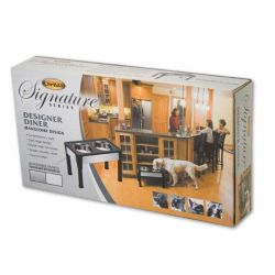 "Signature Series Dog Elevated Panel Feeder (Color: Black / Gray, Size: 23"" x 12.5"" x 14"")"