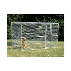 "Chain Link Portable Dog Kennel (Color: Silver, Size: 120"" x 72"" x 72"")"