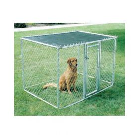 "Chain Link Portable Dog Kennel (Color: Silver, Size: 72"" x 48"" x 48"")"