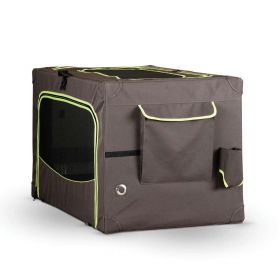 Classy Go Soft Pet Crate (Color: Brown/Lime Green, Size: Small)