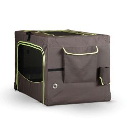Classy Go Soft Pet Crate (Color: Brown/Lime Green, Size: Medium)