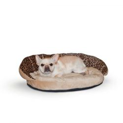 "Plush Pet Bolster Sleeper (Color: Leopard, Size: 23"" x 30"" x 7"")"
