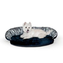 "Plush Pet Bolster Sleeper (Color: Zebra, Size: 23"" x 30"" x 7"")"