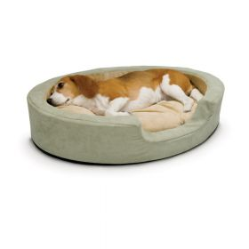 Thermo Snuggly Sleeper Oval Pet Bed (Color: Sage, Size: Medium)