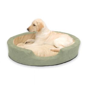Thermo Snuggly Sleeper Oval Pet Bed (Color: Sage, Size: Large)