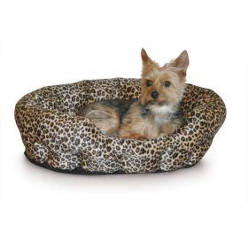 "Self Warming Nuzzle Nest Pet Bed (Color: Leopard, Size: 19"" x 19"" x 6"")"