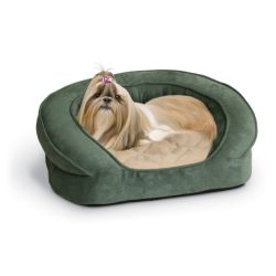 Deluxe Ortho Bolster Sleeper Pet Bed (Color: Green, Size: Small)