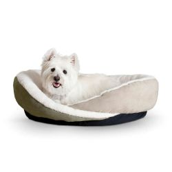 Huggy Nest Pet Bed (Color: Green / Tan, Size: Small)