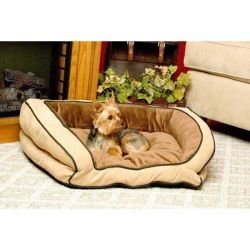 Bolster Couch Pet Bed (Color: Mocha / Tan, Size: Small)