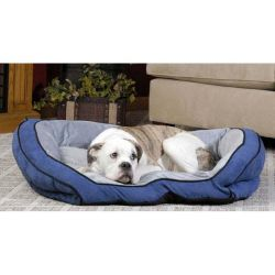 Bolster Couch Pet Bed (Color: Blue / Gray, Size: Small)