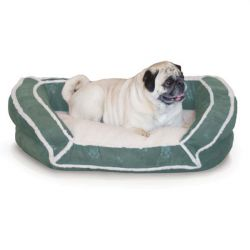Deluxe Bolster Couch Pet Bed (Color: Green, Size: Small)