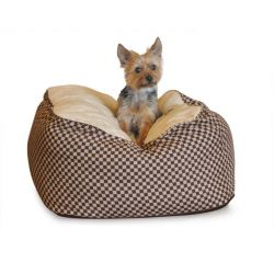 Deluxe Cuddle Cube Pet Bed (Color: Brown, Size: Small)