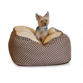 Deluxe Cuddle Cube Pet Bed (Color: Brown, Size: Medium)