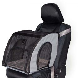 Pet Travel Safety Carrier (Color: Gray, Size: Medium)