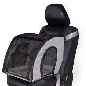 Pet Travel Safety Carrier (Color: Gray, Size: Large)