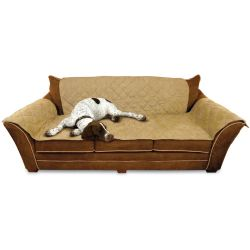 "Furniture Cover Couch (Color: Tan, Size: 26"" x 70"" seat, 42"" x 88"" back, 22"" x 26"" side arms)"