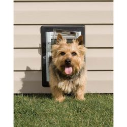Wall Entry Aluminum Pet Door (Color: Taupe / White, Size: Small)