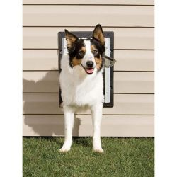 Wall Entry Aluminum Pet Door (Color: Taupe / White, Size: Medium)