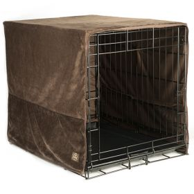 "Plush Pet Crate Covers (Color: Coco Brown, Size: Medium 30"" X 20"")"