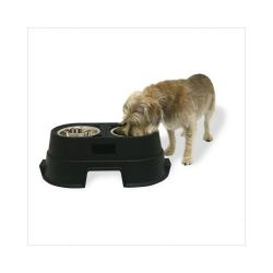 Healthy Pet Diner Elevated Dog Feeder (Color: Black, Size: Medium)