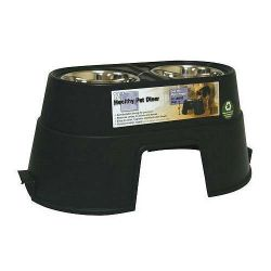 Healthy Pet Diner Elevated Dog Feeder (Color: Black, Size: Large)