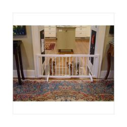 "Step Over Free Standing Pet Gate (Color: White, Size: 28"" - 51.75"" x 20"")"