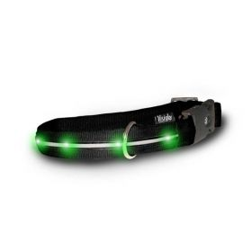 Nylon Collar with LED Lights (Color: Black / Jade Green, Size: Large)