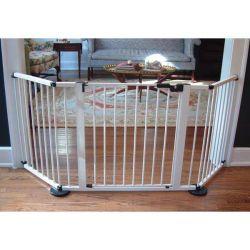 "VersaGate Hardware Mounted Pet Gate (Color: White, Size: 40"" - 77.25"" x 30.5"")"